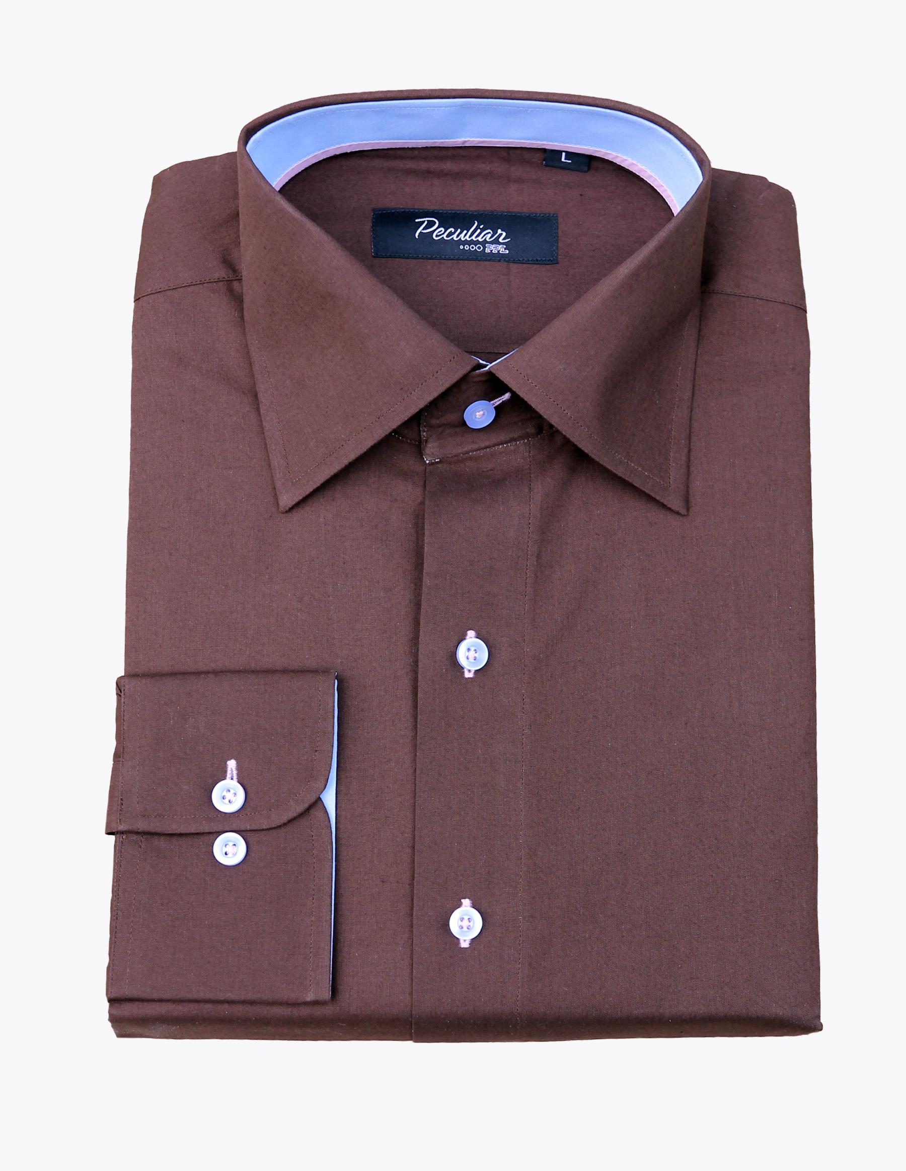 Peculiar ppl make a statement brown dress shirts for Make a dress shirt